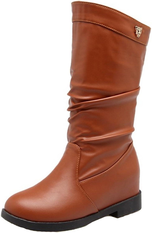 KemeKiss Women Comfort Mid Hidden Heel Slouch Boots