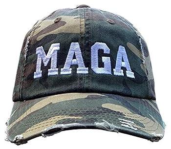 Treefrogg Apparel MAGA Hat - Ripped Distressed CAMO Trump Cap  CAMO Ripped Distressed MAGA/White
