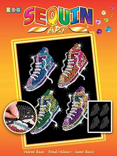 MAMMUT 8031514 - Sequin Art Paillettenbild Sneaker, Steckbild, Bastelset mit Styropor-Rahmen, samtige Bildvorlage, Pailletten, Steckstiften und Anleitung, für Kinder ab 8 Jahre