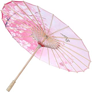 TOPINCN Oil Paper Umbrella Women Handmade Rainproof Handmade Umbrella Windproof Flower Pattern Chinese Classical Dance Umbrella(Pink)