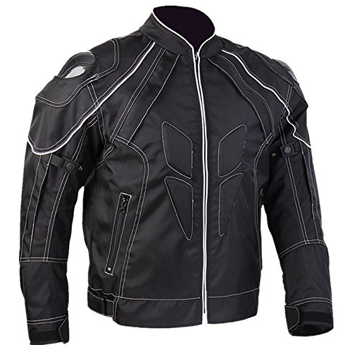 ILM Motorcycle Jackets Carbon Fiber Armor Shoulder Moto Jacket for Men and Women (L, BLACK)