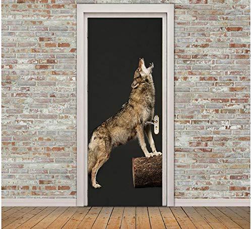 Howling Wolf 3D Deur Sticker op Houten Stake PVC Waterdichte zelfklevende Verwijderbare Art Design Huisdecoratie 95 * 215cm