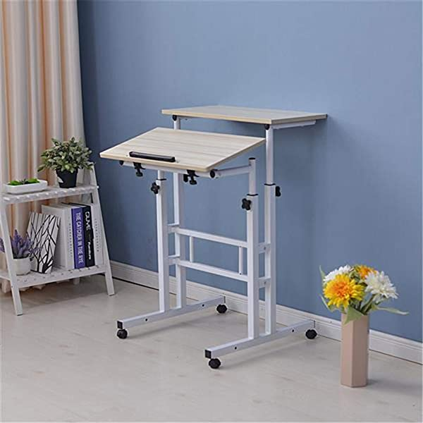 Layee Standing Laptop Desk Mobile Stand Up Desk Adjustable Laptop Desk With Wheels Home Office Workstation Rolling Table Laptop Cart For Standing Or Sitting