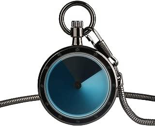 Gradual Change Turntable Color Dial Pocket Watch,Analog Quartz Snake Wrist Chain Astonishing Gift for Men