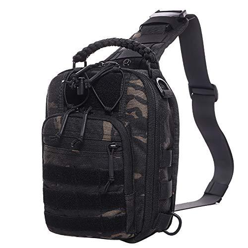 YEVHEV Schulterrucksack-Militärisch Taktischer Sling Rucksack Wasserdicht Leichte Mehrfunktional Sporttaschen Molle Crossbody Bag für Outdoor,Reise,Wandern,Camping