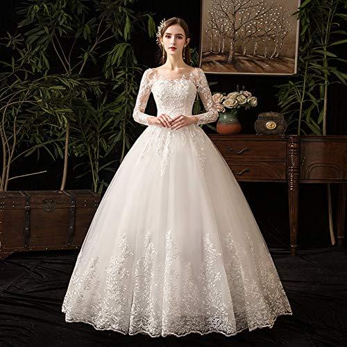 SWEETQT Brudbröllopsklänning romantisk söt elegant prinsessa lyxig spets bröllopsklänning 100 cm långa ärmar applikationer kändis balklänning