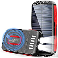 Fkant 25000mAh Portable Wireless Solar Charger Power Bank