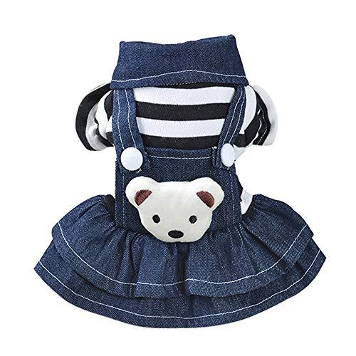 COLOGOペット服 かわいい ドレス デニム 小型犬 中型犬 ドッグウェア ワンピース 秋冬 ファッション スカート 人気 犬洋服(ホワイト、S)
