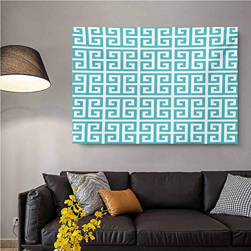 ScottDecor Greek Key Wall Decor for Living Room Geometric Hellenic Fret Pattern in Pastel Blue and White Color Antique Revival mom Gifts for Christmas Seafoam White L24 x H48 Inch