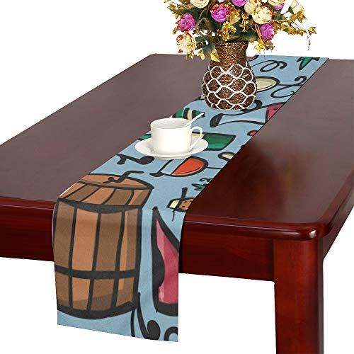 WHIOFE Red Wine Cork Retro Design Taste Stylish Color Table Runner Kitchen Dining Table Runner 16 X 72 Inch for Dinner Parties Events Decor
