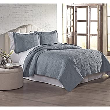 Amrapur Overseas | Solid Embroidered 3-Piece Quilt Set (Slate, King)
