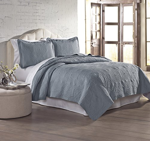 Amrapur Overseas 3-Piece Solid Embroidered Quilted Coverlet Set, Full/Queen, Slate