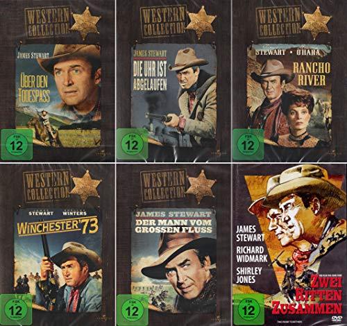 James Stewart Western Collection: Der Mann vom großen Fluss + Die Uhr ist abgelaufen + Über den Todespass + Winchester 73 + Rancho River + Zwei ritten zusammen [6er DVD-Set]