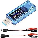 Youmile 1 pcs 3.7-30V 0-4A USB Tester Power USB 3.0 Tester, USB Power Meter, USB Current Meter Tester, Cargador USB Tester AT34, IPS Color Display Voltímetro Amperímetro con cable de clip USB