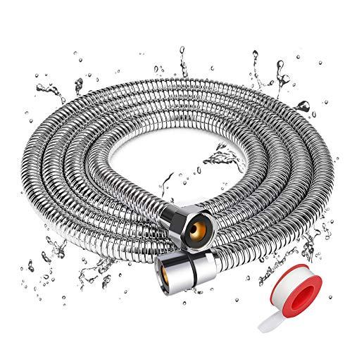 Winzwon Duschschlauch, Brauseschlauch 2.0M, Flexibler Brauseschlauch Edelstahlrohr, Edelstahl Chrom Explosionsschutz mit Super Biegefähigkeit mit 3 Ringdichtung und 1 Teflonband