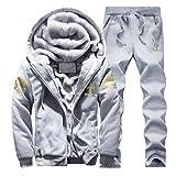 TAOHOU Hombres Winter Plus Velvet Sports Suit Sudadera con Capucha Engrosada con Estampado Dorado Gris 3XL