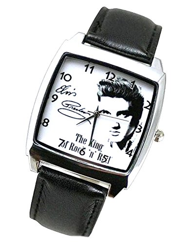 Products Just4U Unisex Uhr Analog Quarzwerk mit Leder Armband Elvis Presley E1 Schwartz Quadrant