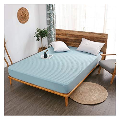WYJHNL matrasbeschermer, katoen, gevuld, gewatteerde matrasbeschermer, wasbaar, ademend, zachte matrasbeschermer past matras tot 5-30 cm diep 180x200cm(71x79inch) blauw.