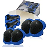 CRZKO Kids Protective Gear, Knee Pads and Elbow Pads 6 in 1 Set with Wrist Guard...