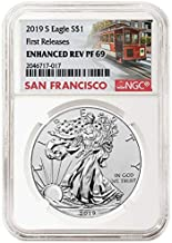 2019 S Silver Eagle 2019 S Reverse Proof Silver Eagle Enhanced PR-69 NGC Numbered COA $1 PR-69 NGC DCAM