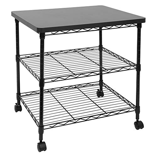 Mount-It! Printer Stand With Wheels | 3-Tier Large Printer Cart With Storage Shelves For 3D & Laser Printer, Scanner, Heat Press | Rolling Metal Utility Table For Home and Office Use, 200 Lbs Capacity