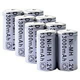 Toyofmine 8pcs D Size Rechargeable Battery D Type 13000mAh 1.2V Ni-MH Cell Grey