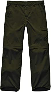 Kids Boy's Girl's Youth Outdoor Quick Dry Lightweight Cargo Pants, Hiking Camping Zip Off Convertible Trousers