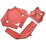 3Pcs Frauen Nahtlose Sport Sets, Crop Long Sleeve Top Mit Daumenloch, U-Ausschnitt Sport-BH, Hohe...