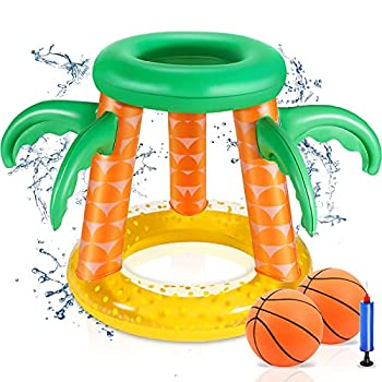 Swimming Pool Basketball Hoop Set Pool Games Inflatable Pool Toys for Adults Family Teens Kids 8-12 Outdoor Water Toys Outside Beach Lake Toys Palm Tree Pool Floats Accessories with 2 Balls & Pump