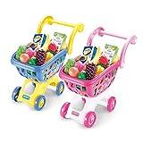 Hanks' Shop Kinder Pretend Toy Simulation Supermarkt Einkaufswagen Spielzeug mit Früchten Modell-Geschenk for Kinder (zufällige Farbe) Spiele (Color : Random Color)