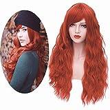 Mildiso Perücke Rot Lange Natürliche Wellenförmige Mode Locken Perücke mit Pony Synthetische Wig...