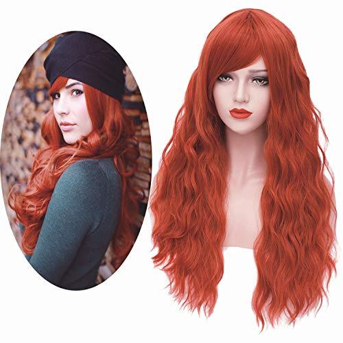 Mildiso Perücke Rot Lange Natürliche Wellenförmige Mode Locken Perücke mit Pony Synthetische Wig DE021
