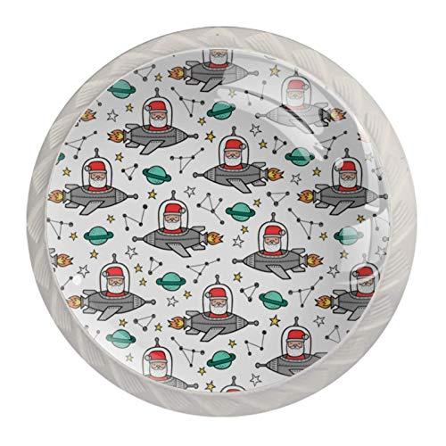 Schubladengriffe ziehen für Home Kitchen Dresser Wardrobe-Santa Claus Space Rockets Planetenkonstellationen auf Weiß
