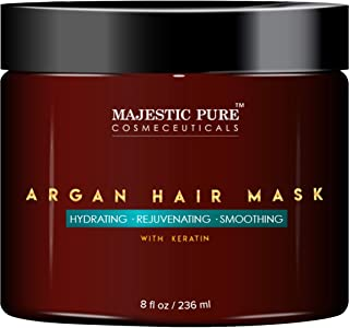 MAJESTIC PURE Argan Hair Mask with Keratin - Rejuvenating, Hydrating, Smoothing Deep Conditioner Keratin Hair Treatment - Paraben Free, 8 fl oz