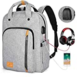 Computer Backpacks for Laptops 15.6 Inch, Stylish Travel Laptop Backpack for Women Men with USB Charging Port, Water Resistant Bookbag Daypack for College High School Work Business Bag Gift-Gray