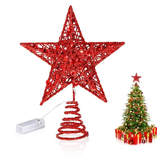 Weihnachtsbaum Stern,Topper Lichter,Weihnachtsbaumspitze glitzernder,baumkronen Lampe,beleuchtete Sterne,funkelnden Sterne,Weihnachtsbaumspitze Dekoration,Weihnachten Dekoration LED(rot)