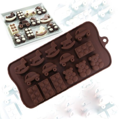 Charmed Rocking Horse, Car, toy brick and teddy Bear Candy chocolate Baking Mold or Ice Tray (2 pk)