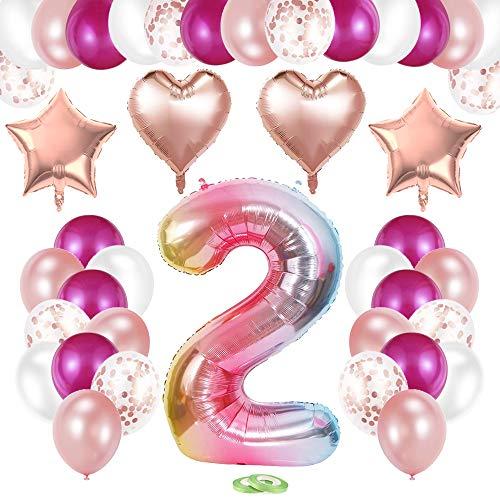 TOPHOPE Luftballon 2. Geburtstag Rosa Happy Birthday Folienballon Luftballon Zahlen Geburtstagsdeko 2 Jahr Riesen Folienballon Zahl 2 Ballon 2 Deko zum Geburtstag Rosa