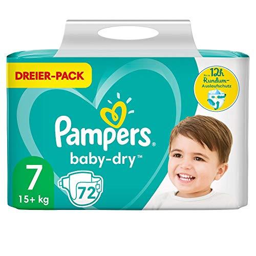 Pampers Baby-Dry Windeln, Gr. 7, 15kg+, Dreier-Pack (1 x 72 Windeln)