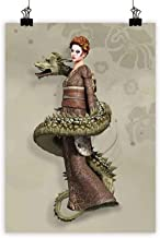 Fantasy Art Oil Paintings Westernly Geisha with Cry Make-Up Wrapped by Spiralling Dragon Canvas Prints for Home DecorationsEggshell Olive Green Brown 31