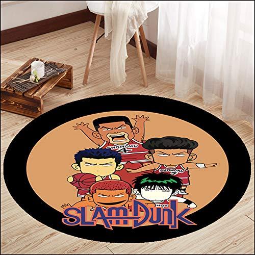 WYBY Creative Fashion Carpet-Basketball Animation Team Alfombra Redonda: Adecuado para Sala de Estar Sofá Tabla de café Dormitorio Dormitorio Dormitorio 120cm
