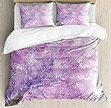 Juego de funda de edredón con diseño de flores, diseño de árbol de ensueño con detalles nublados inspirado en el amor y el afecto, juego de cama decorativo de 3 piezas con 2 almohadas, color morado