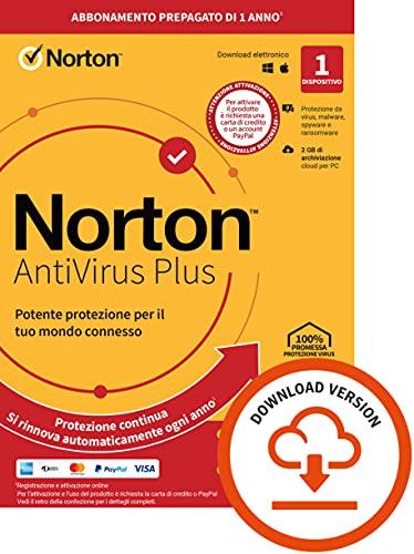Norton Antivirus Plus 2021, Antivirus per 1 Dispositivo, Licenza di 1 anno con rinnovo automatico, PC o Mac, Codice d attivazione via email