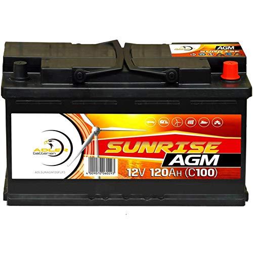 Solarbatterie AGM 12V 120Ah SUNRISE Wohnmobil Versorgungsbatterie Bootsbatterie