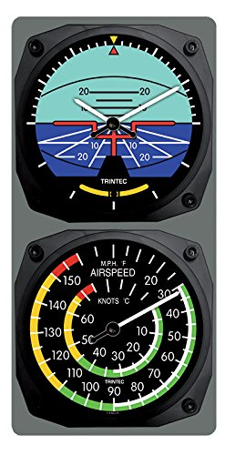 Trintec Classic Aircraft Horizon Wall Clock/Airspeed Thermometer (°F) Combo