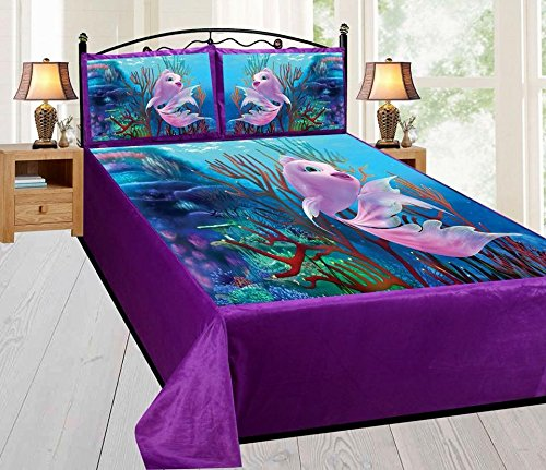Shivi Creation 200 TC King Size Velvet Digital Printed Bedsheet for Double Bed with 2 Pillow Covers - (Size 95x104 Inch) Fish DBS