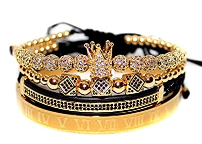 KOKOSHELL Royal King Crown Entertainment 4PCS Set Rhinestone 18kt Gold Bracelet/Silver Charm Bracelets Men Luxury CZ Imperial Gifts Women Jewelry Vice Cubic Zirconia Beads Bangle (Giold)