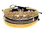 KOKOSHELL Royal King Crown Entertainment 4PCS Set Rhinestone 18kt Gold Bracelet/Silver Charm Bracelets Men Luxury CZ Imperial Gifts Women Jewelry Vice Cubic Zirconia Beads Bangle (Giold)
