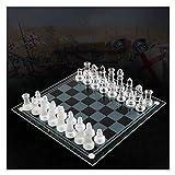 XBSLJ Ajedrez Juego de ajedrez Juegos de ajedrez para niños de Alta Gama dedicados al Aprendizaje de Cristal de Cristal, Rompecabezas de ajedrez Internacional, Manualidades de ajedrez