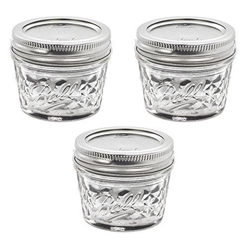De Mason Quilted Crystal Jelly Jar 4 oz/conjunto de 3
